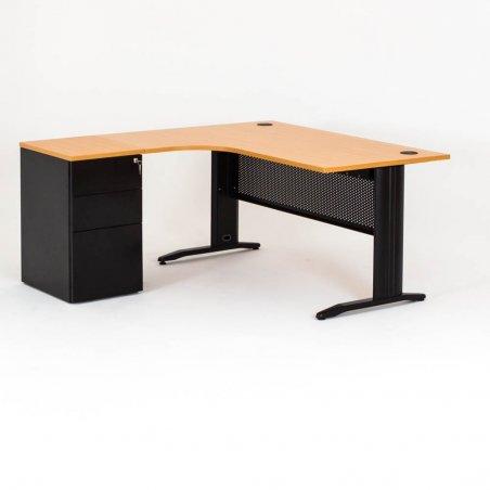 Bureau compact avec caisson métal hauteur bureau P.60 cm