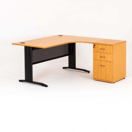 Bureau compact avec caisson hauteur bureau P.60 cm bois