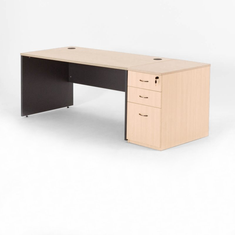 bureau droit madera caisson hauteur bureau bd mobilier. Black Bedroom Furniture Sets. Home Design Ideas