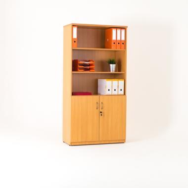 Bibliothèque avec armoire basse portes battantes