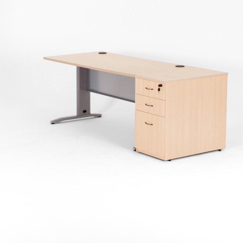bureau droit quadra caisson bois bdmobilier. Black Bedroom Furniture Sets. Home Design Ideas