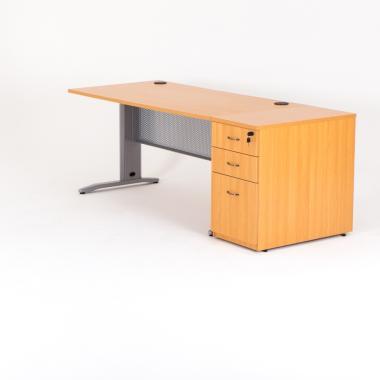 Bureau droit avec caisson hauteur bureau bois