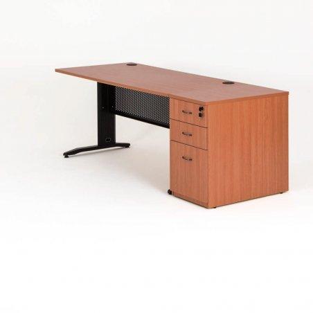 Bureau droit QUADRA avec caisson hauteur bureau bois