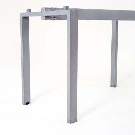 Bureau d'angle OPTIMUM avec retour accroché avec caisson HB porteur en métal, profondeur 60 cm