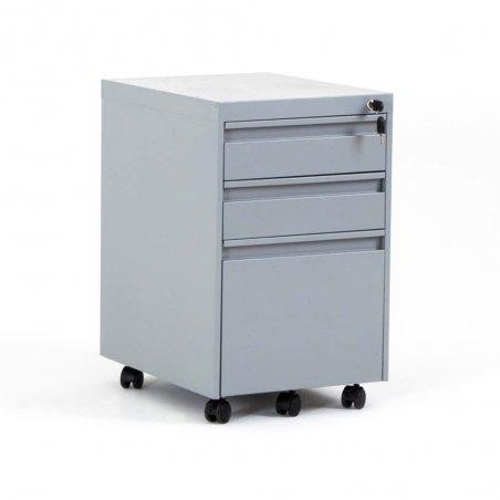 Caisson à roulettes EKO en métal, 2 tiroirs et 1 tiroir pour dossiers suspendus