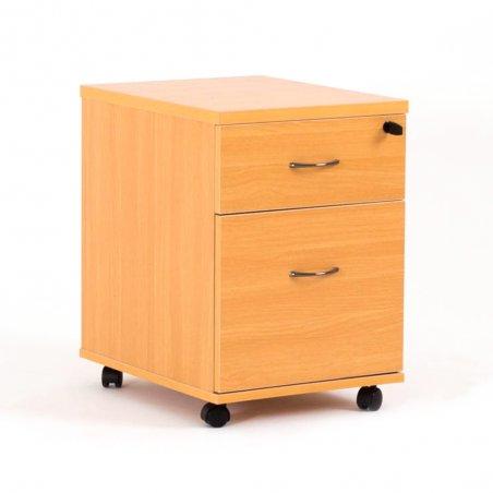 Caisson à roulettes LUDY en bois avec 1 tiroir simple et 1 tiroir pour dossiers suspendus