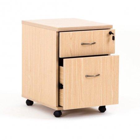 Caisson à roulettes LUDY en bois, 1 tiroir et 1 tiroir pour dossiers suspendus