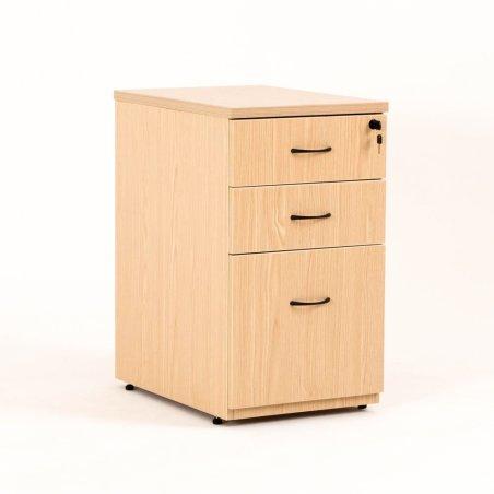 Caisson hauteur bureau LUDY bois 2 tiroirs + 1 tiroir suspendu, tiroirs fermés, chêne clair
