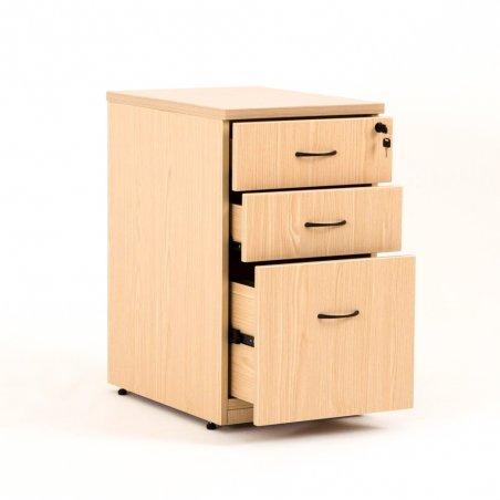 Caisson hauteur bureau LUDY bois 2 tiroirs + 1 tiroir suspendu, tiroirs ouverts, chêne clair