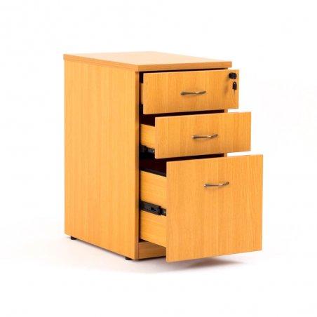 Caisson hauteur bureau LUDY bois 2 tiroirs + 1 tiroir suspendu, tiroirs ouverts, hêtre