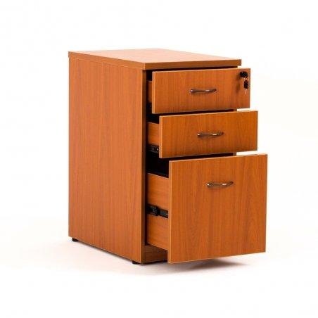 Caisson hauteur bureau LUDY bois 2 tiroirs + 1 tiroir suspendu, tiroirs ouverts, merisier