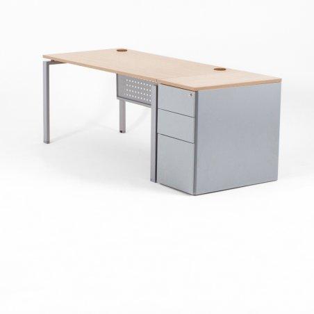 Bureau droit OPTIMUM, plateau chêne clair, piétement aluminium et caisson HB métal