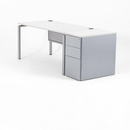 Bureau droit OPTIMUM, plateau blanc, piétement aluminium et caisson HB métal