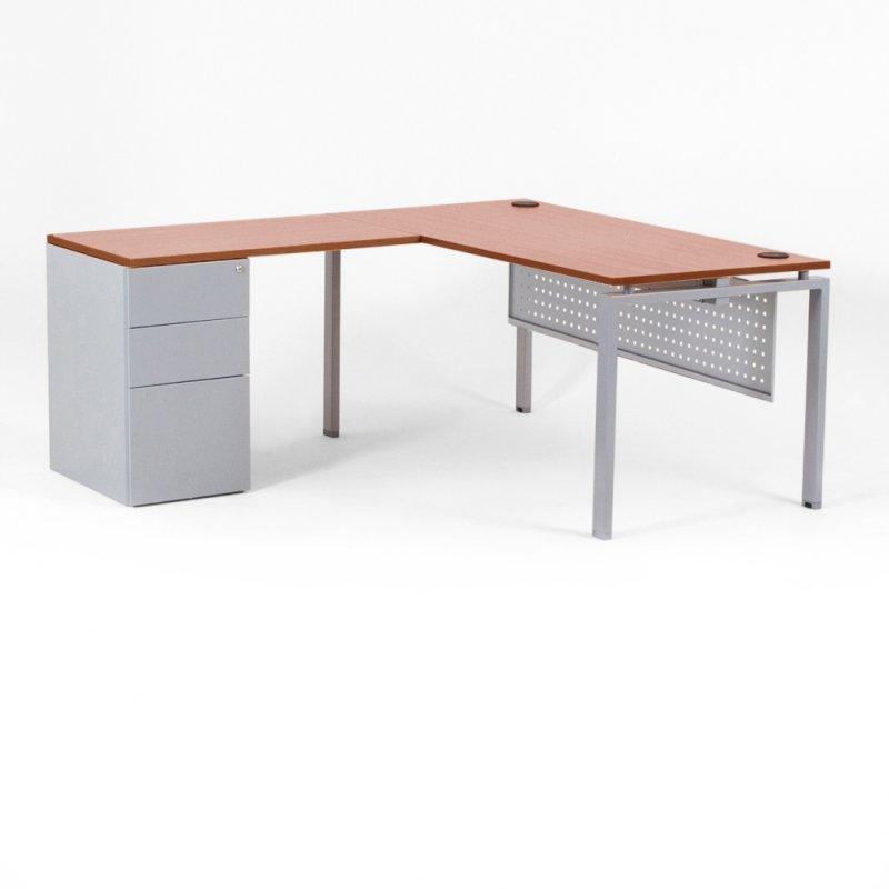 bureau d 39 angle optimum avec retour accroch et caisson. Black Bedroom Furniture Sets. Home Design Ideas