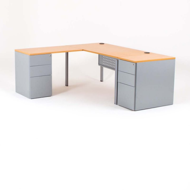 bureau d 39 angle optimum avec 2 caissons bdmobilier. Black Bedroom Furniture Sets. Home Design Ideas