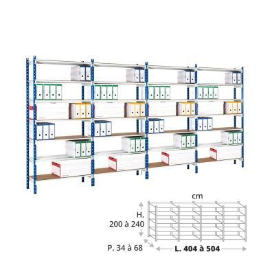 Rayonnage archives 150 kg - 4 éléments