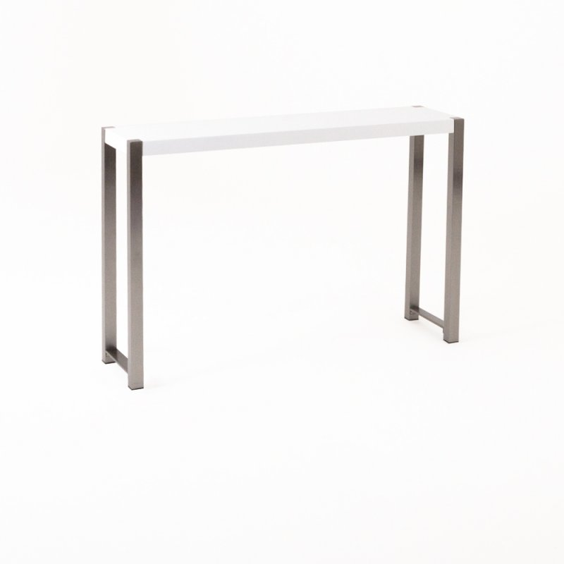 Table haute Bross blanc piétement chromé