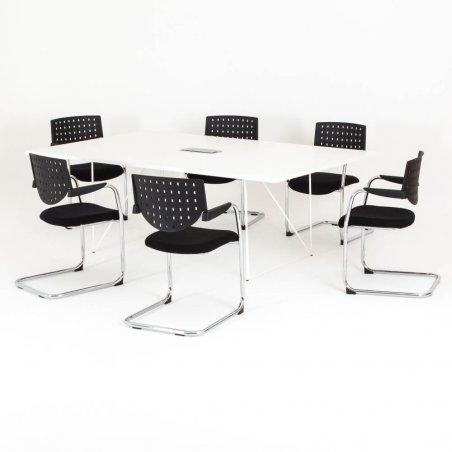 Table de réunion rectangulaire Epure avec 6 chaises Louxor