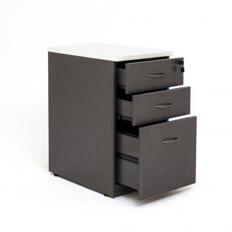 Caisson hauteur bureau LUDY bois 2 tiroirs + 1 tiroir suspendu, tiroirs ouverts, anthracite, top blanc