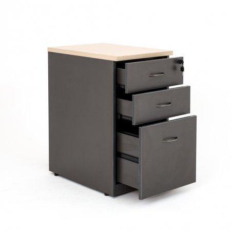 Caisson hauteur bureau LUDY bois 2 tiroirs + 1 tiroir suspendu, tiroirs ouverts, anthracite top chêne clair