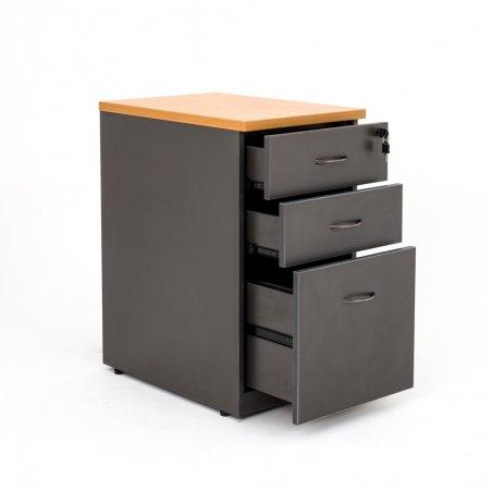 Caisson hauteur bureau LUDY bois 2 tiroirs + 1 tiroir suspendu, tiroirs ouverts, anthracite top hêtre