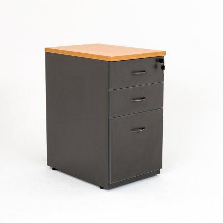 Caisson hauteur bureau LUDY bois 2 tiroirs + 1 tiroir suspendu, tiroirs fermés, anthracite top hêtre