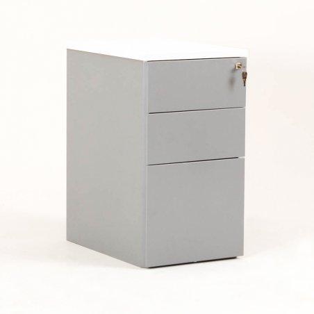 Caisson en métal 2 tiroirs et 1 tiroir pour dossiers suspendus aluminium et top blanc