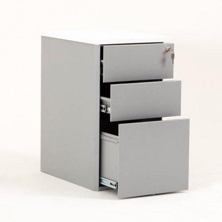 Caisson ouvert en métal 2 tiroirs et 1 tiroir pour dossiers suspendus aluminium et top blanc