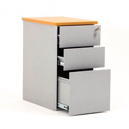Caisson ouvert en métal 2 tiroirs et 1 tiroir pour dossiers suspendus aluminium et top hêtre