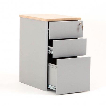 Caisson ouvert en métal 2 tiroirs et 1 tiroir pour dossiers suspendus aluminium et top chêne clair