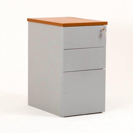 Caisson en métal 2 tiroirs et 1 tiroir pour dossiers suspendus aluminium et top merisier