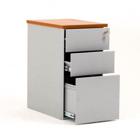 Caisson ouvert en métal 2 tiroirs et 1 tiroir pour dossiers suspendus aluminium et top merisier