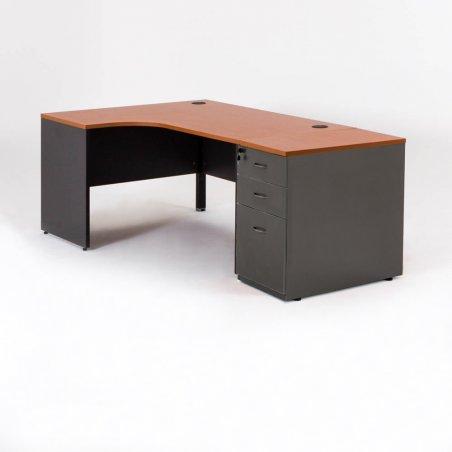 Bureau compact avec 1 caisson HB droite
