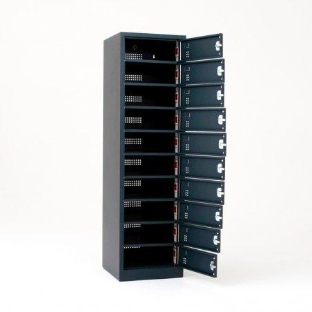 Armoire sécurisée pour ordinateurs portables, 10 casiers, ouverte