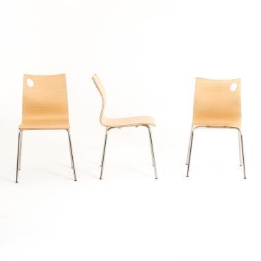 Chaise de bureau 4 pieds en bois d'hêtre IRIS BDMobilier