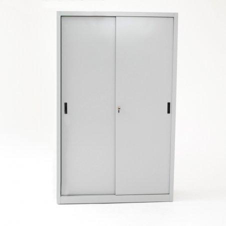 Armoire haute portes coulissantes TINEO, portes fermées, gris clair