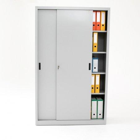 Armoire haute portes coulissantes TINEO, porte entrouverte, gris clair