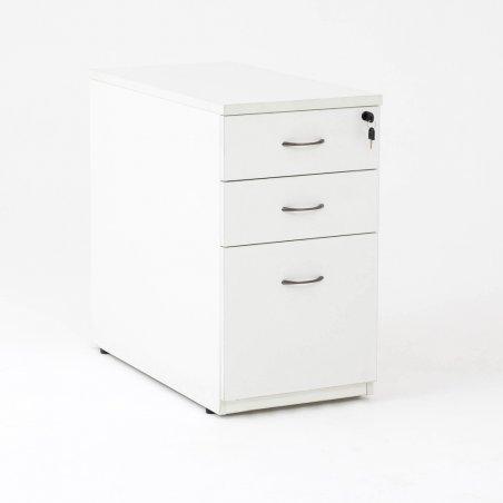 Caisson hauteur bureau LUDY bois 2 tiroirs + 1 tiroir suspendu, tiroirs fermés, blanc