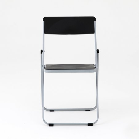 Chaise pliante OPTU, vue de face, noir