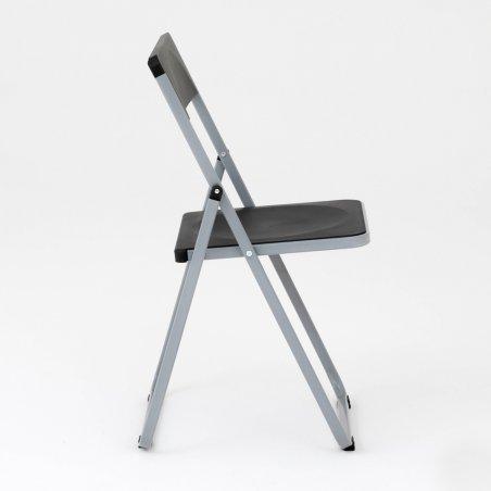 Chaise pliante OPTU, vue de profil, noir