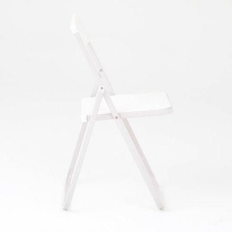 Chaise pliante et accrochable OPTU, vue de profil, blanc
