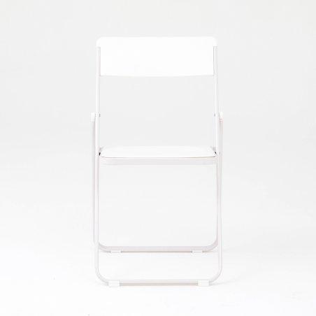 Chaise pliante et accrochable OPTU, vue de face, blanc