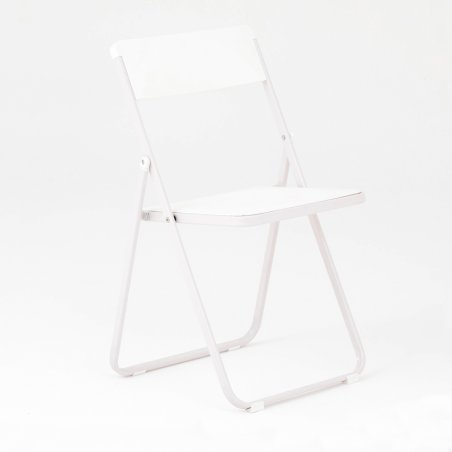 Chaise pliante OPTU, vue de 3/4, blanc