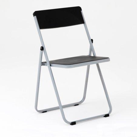 Chaise pliante OPTU, vue de 3/4, noir