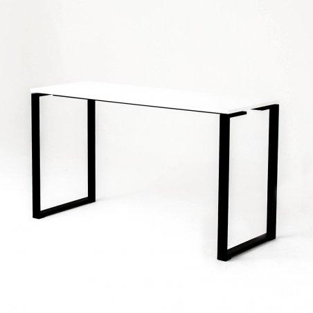 Table haute BIZ, plateau blanc piétement noir