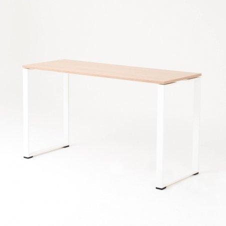 Table haute BIZ, plateau chêne clair piétement blanc