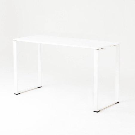Table haute BIZ, plateau blanc, piétement blanc