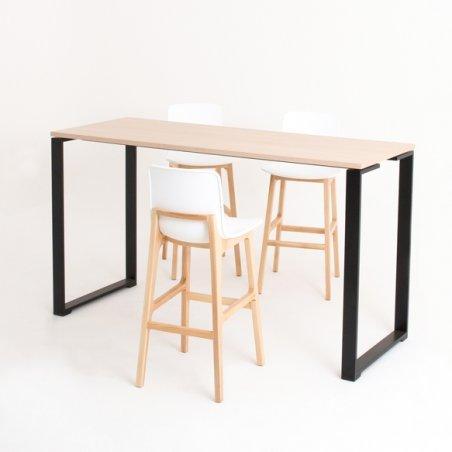 Table haute BIZ, plateau chêne clair piétement noir avec 3 chaises hautes Lib