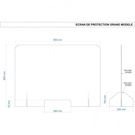 Plan et dimensions du grand panneau de protection en plexiglas - BD Mobilier