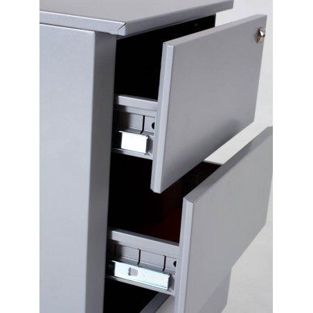 Caisson hauteur bureau en métal, 2 tiroirs et 1 tiroir pour dossiers suspendus